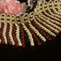 Tassels, Polyester, Burgandy, Light Yellow, 1m x 7.5cm, (LHP169)